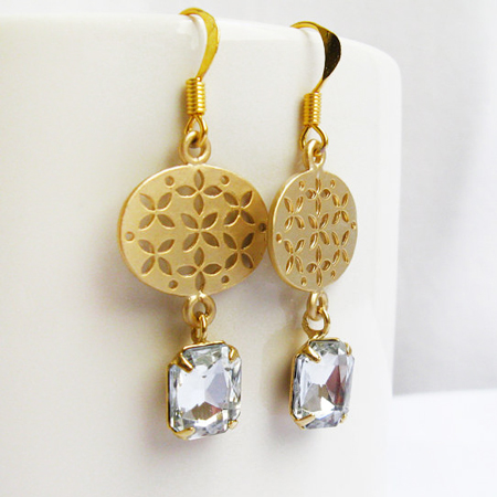 Gold Filigree Cubic Zirconia Drop Dangle Earrings, Bridal Earrings, Bridesmaid Gift, Gold Cz Earrings