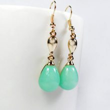 14k gold plated earrings green mint crystal teardrop