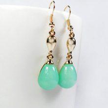 14k gold plated earrings green mint crystal teardrop
