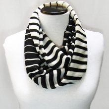 Infinity Scarf, Black and White Stripped Loop Scarf