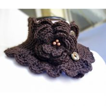 Knit Scarf Neckwarmer Collar brown