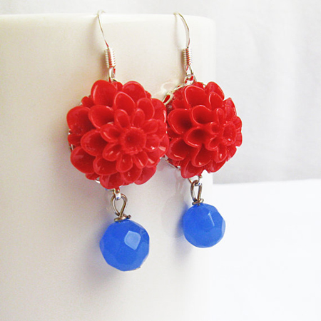 Red Blue Flower Dangle Earrings, Floral earrings, Gift for Her
