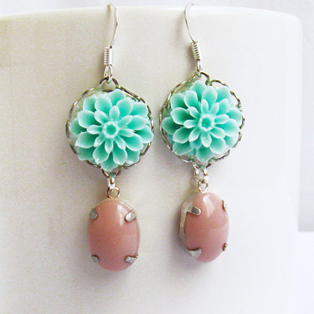 Flower Dangle Earrings, Teal Earrings, Dangle Bridesmaid Ea