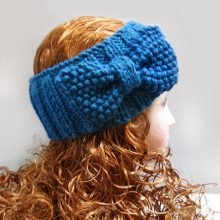 Knitted Headband Ear Warmer, Blue Bow Headbands