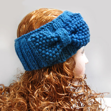 Knitted Headband Ear Warmer, Blue Bow Headbands