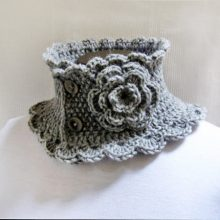Hand Knit Neck Warmer Collar Grey Victorian Style