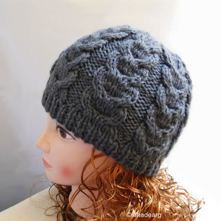 Beanie Hat, Gray Wool Cable Beanie for women