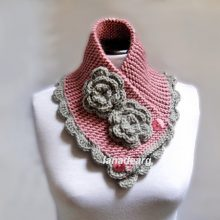Hand Knit Neck warmer Scarf Chunky Cowl Blush Pink Gray With Flowers