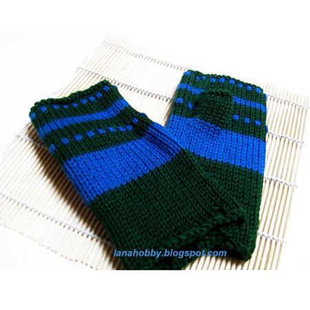 Knit Fingerless Mittens In Blue Green Wool Gifts Shop