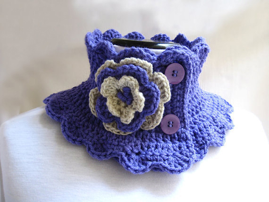 Knit Neck Warmer Scarf Collar Lilac with Flower