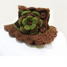 Knit Neck Warmer Scarf Collar Brown Green with Flower
