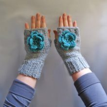 Knit fingerless mittens, hand knitted fingerless with flower