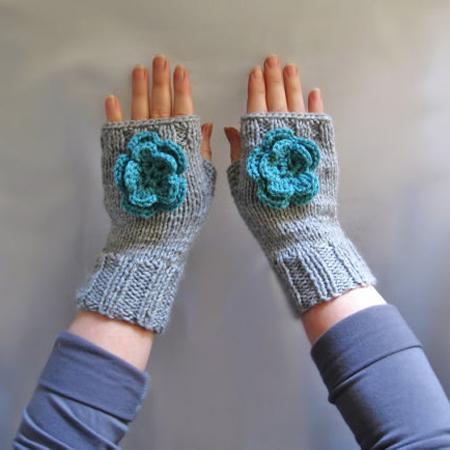 Knit fingerless mittens, hand knitted fingerless with flower