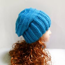Knit Slouchy Beanie Hat, Winter Blue Wool Slouchy