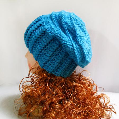 Knit Slouchy Beanie Hat, Winter Blue Wool Slouchy