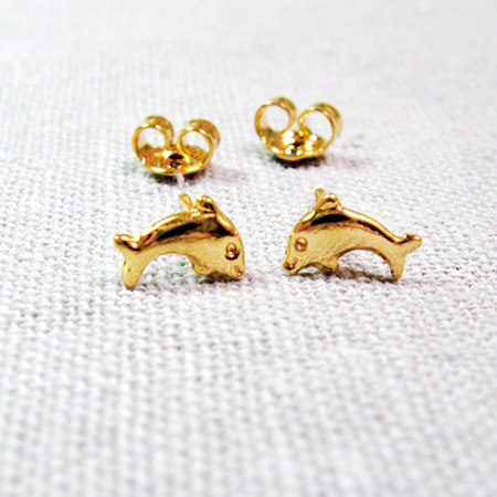 Fish stud earrings in gold plated- Gift for Her