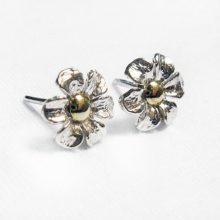 Silver Flower Earrings- Silver Earrings Stud, Gold Appliqué