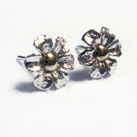 Silver Flower Earrings- Silver Earrings Stud, Gold Appliqué