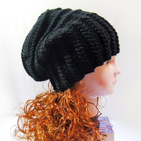 Knit Slouchy Beanie, Winter Black Slouchy Hat