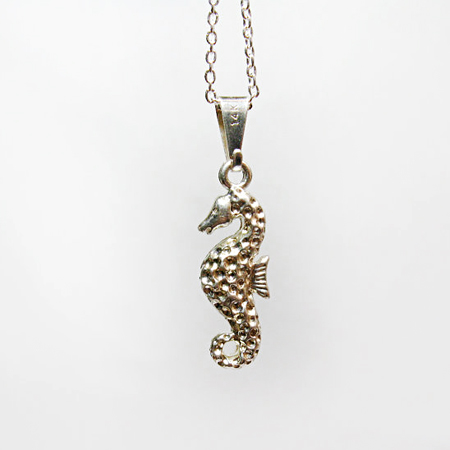 Silver Seahorse Necklace - Nautical, Ocean Animal, Sea Jewelry, Pendant Necklace