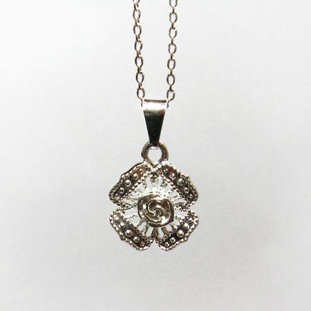 Silver Rose Pendant Necklace, Rose Jewelry, Fine Silver Rose Pendant