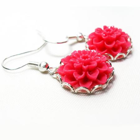 Pink Earrings, Flower Silver Earrings Pink dahlia