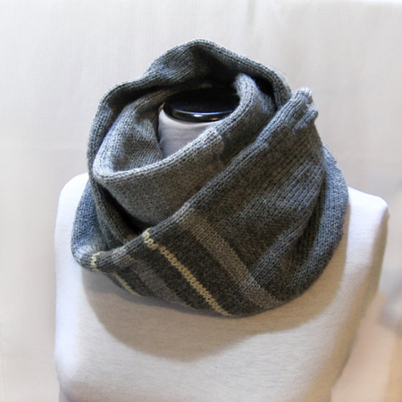 Knit Infinity Scarf, Circle Scarf, Loop Men Grey Scarf