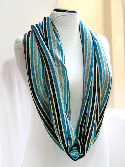 Infinity Scarf, Knit Wool Jersey Circle Scarf, Stripped Winter Scarf
