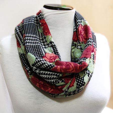 Infinity Scarf – Knit Wool Jersey Circle Scarf- Loop Floral