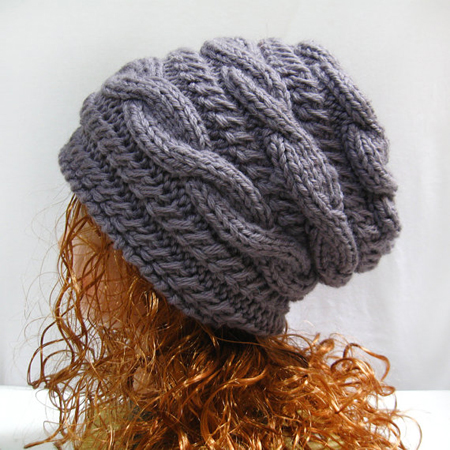 Knit Slouchy Beanie Hat Winter Gray Cable Slouchy Gifts Shop