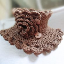 Knit Neck Warmer Collar, Coffee With Milk Neckwarmer Scarf