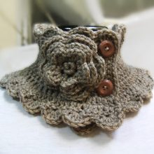 Knit Neck Warmer Scarf Collar Coffee with Milk with Crocheted Flower