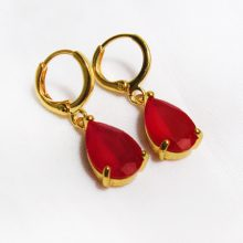14K Gold Filled Ruby Teardrop Earrings