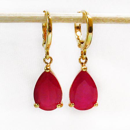 14K Gold Filled Ruby Teardrop Earrings