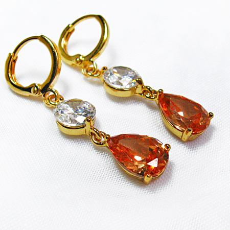 Gold Earrings, Gold Dangle Earrings, Champagne Crystal Earrings, Drop Dangle Earrings