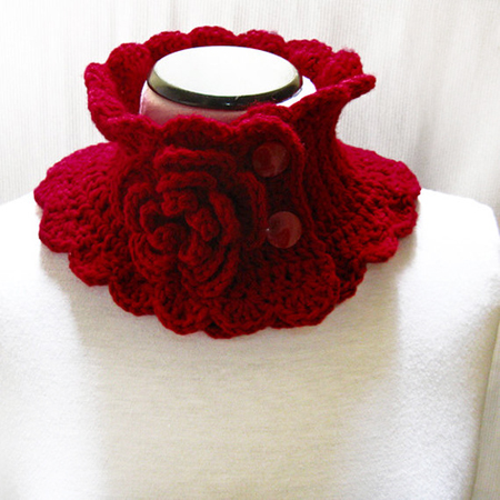 Knit Neck Warmer Scarf Red Collar with Flower