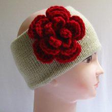 Knitted Headband Ear Warmer, Crochet Flower Headband