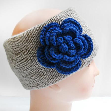 Knitted Headband Ear Warmer, Headbands for Women with Blue Flower