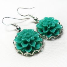 Floral Earrings, Dahlia Mint Flower Silver Earrings