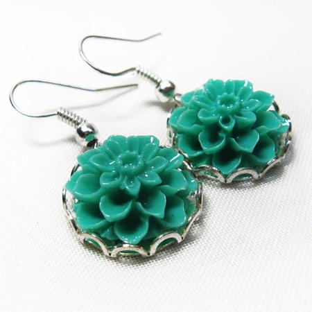 Floral Earrings, Dahlia Mint Flower Silver Earrings