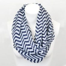 Chevron Infinity Scarf, Striped Navy Blue Loop Scarf