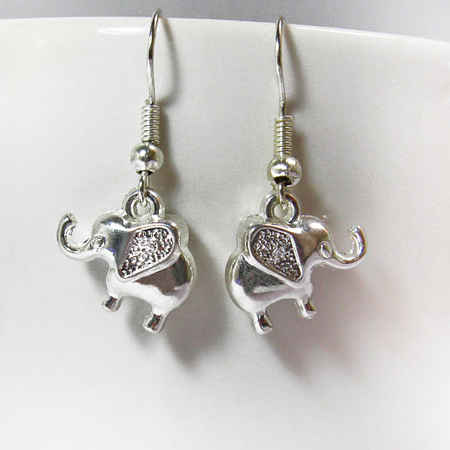 Silver Elephants Earrings-Elephant Jewelry