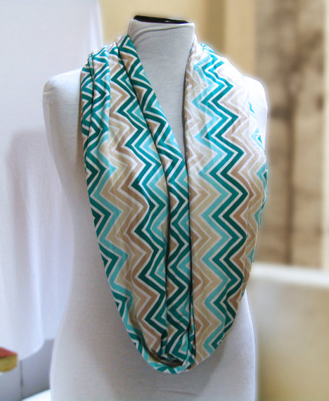 Chevron Jersey Infinity Scarf Loop Scarf Circle Scarf