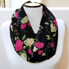 Infinity Chiffon Scarf, Floral Roses Scarf, Loop Circle Scarf