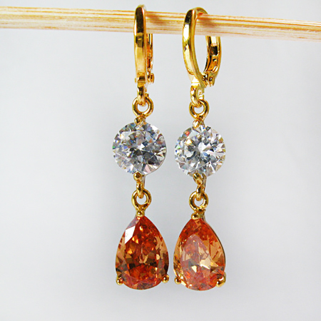 Gold Earrings, Gold Dangle Earrings, Champagne Crystal Earrings, Drop Dangle Earrings