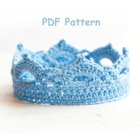 Crochet Elsa Tiara Pattern Free : Crochet Pattern Princess or Prince Crochet Crown Newborn ...