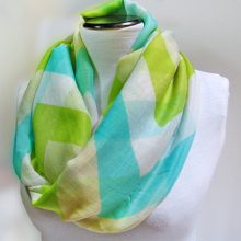 Chevron Infinity Scarf, Striped Zig Zag Mint Loop Scarf