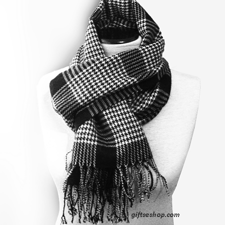scarf black white houndstooth scarf for him