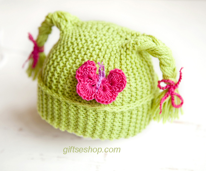 Knitting Pattern Butterfly : Baby hat knitting pattern — children with braids and