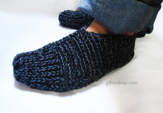Mens Slippers Knitting Pattern : Easy Slippers Knit Pattern for Men Knit with Two Needles for Beginners n48   ...